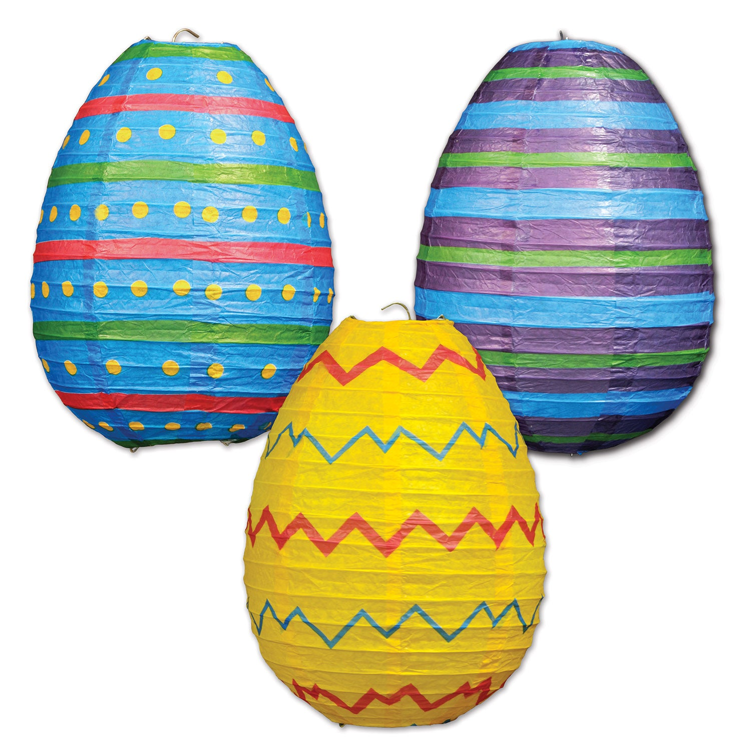 Easter Egg Paper Lanterns (3/Pkg) by Beistle - Easter Theme Decorations