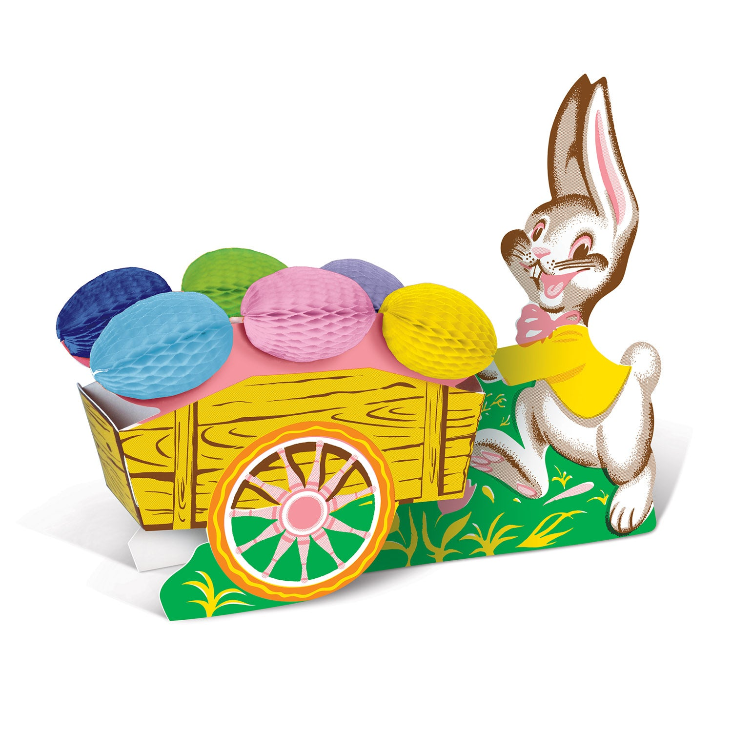 Vintage Easter Bunny w/Cart by Beistle - Easter Theme Decorations