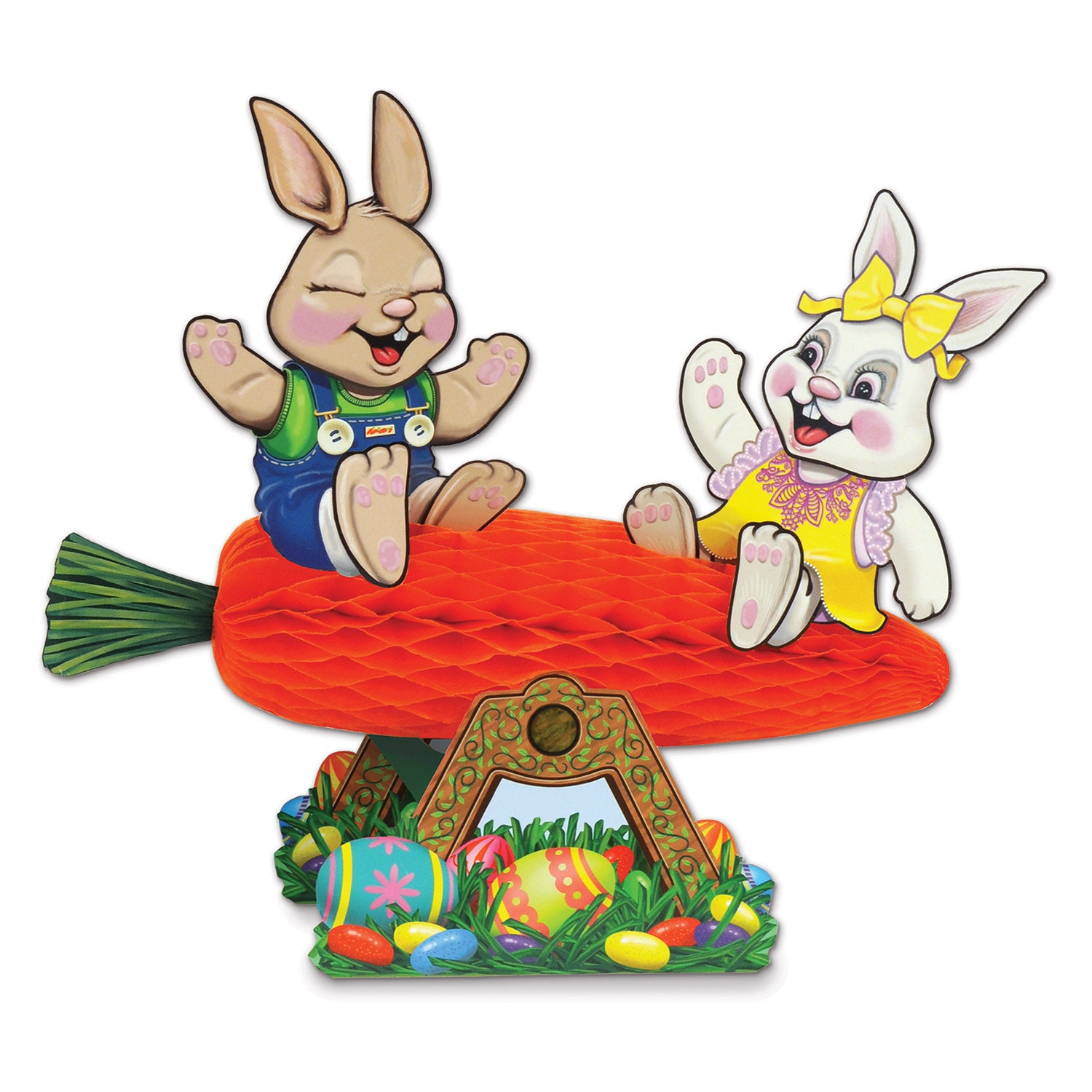 Carrot Seesaw w/Bunnies by Beistle - Easter Theme Decorations