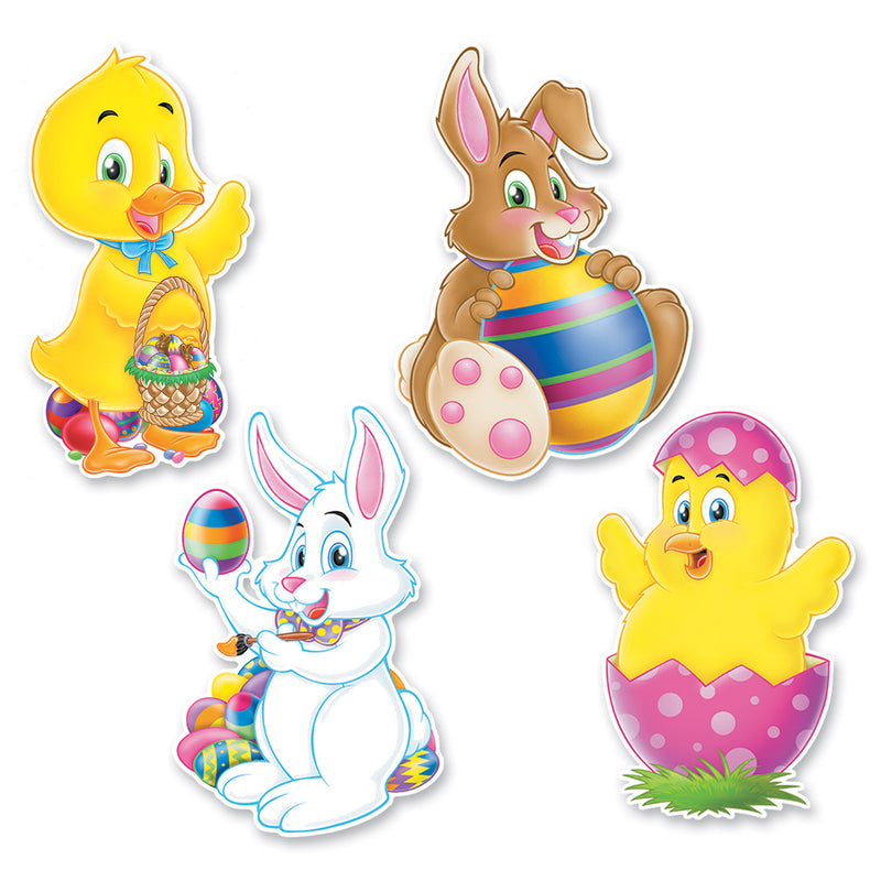 Easter Cutouts (4/Pkg) by Beistle - Easter Theme Decorations
