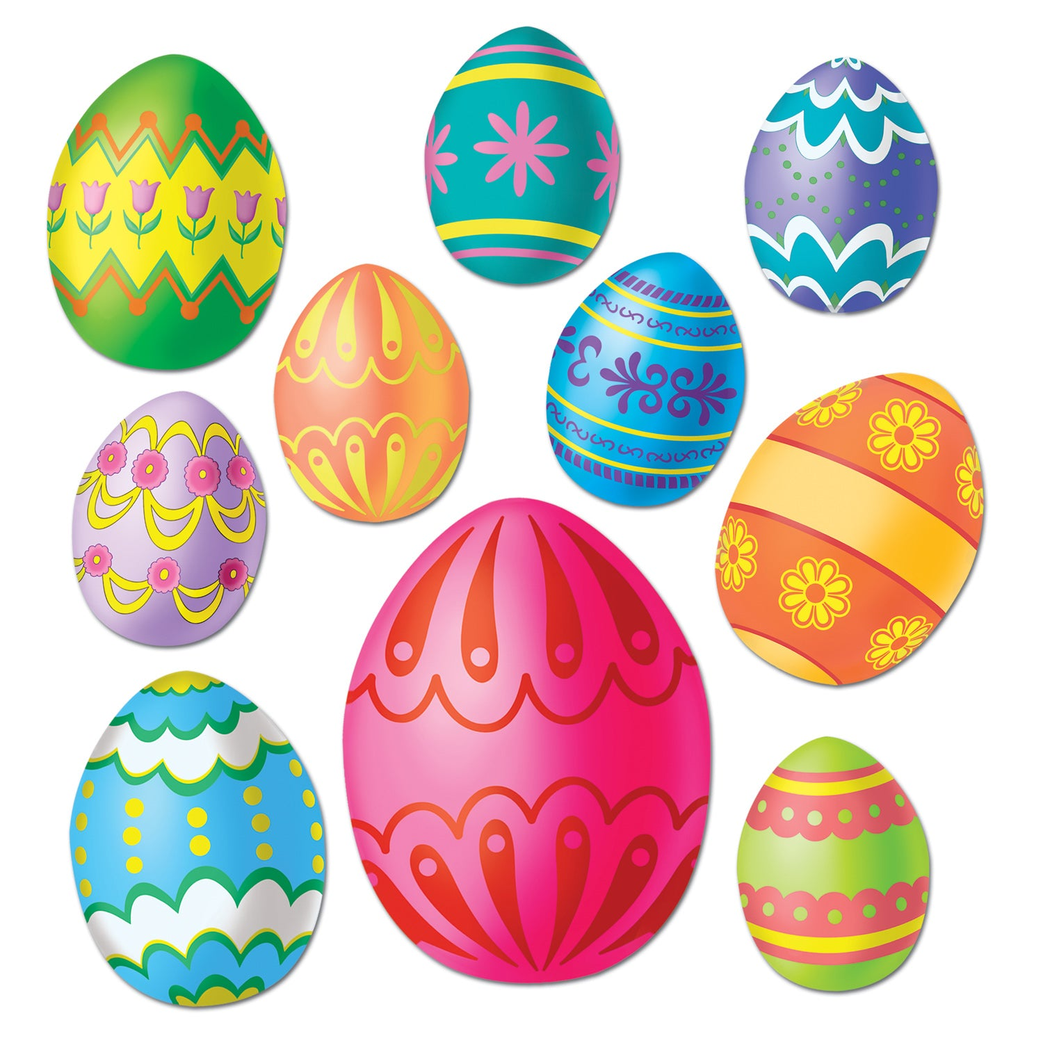 Easter Egg Cutouts (10/Pkg) by Beistle - Easter Theme Decorations