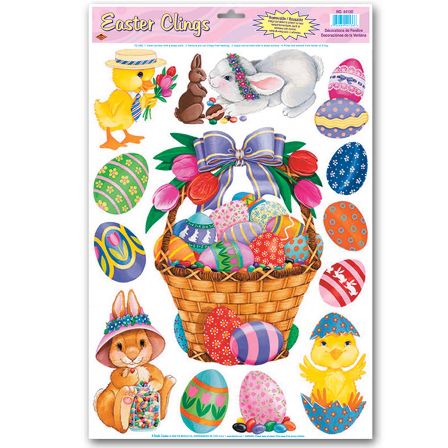 Easter Basket & Friends Clings (5/Sheet) by Beistle - Easter Theme Decorations