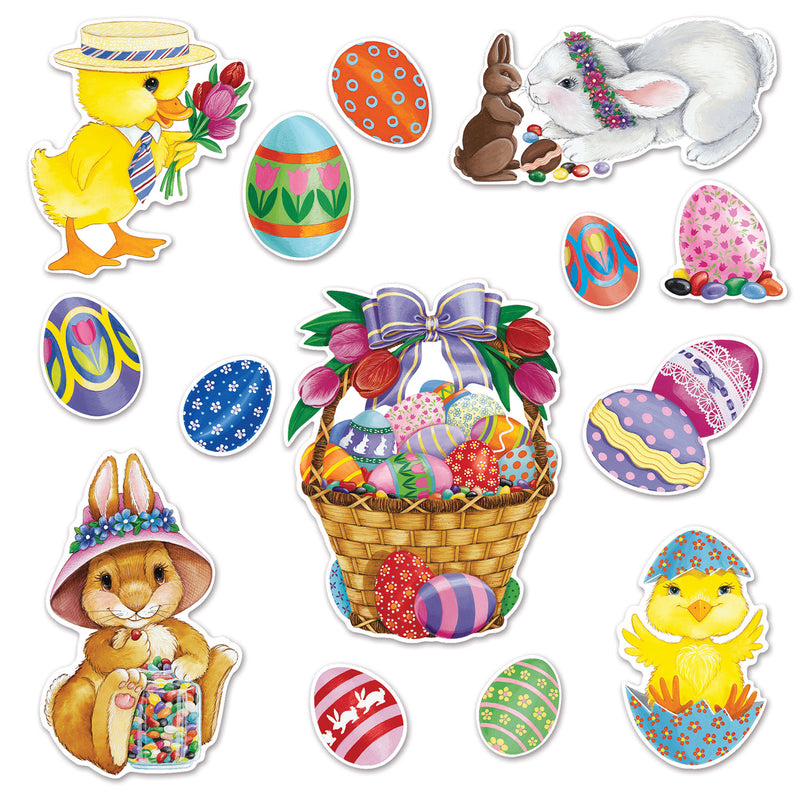 Easter Basket & Friends Cutouts (14/Pkg) by Beistle - Easter Theme Decorations