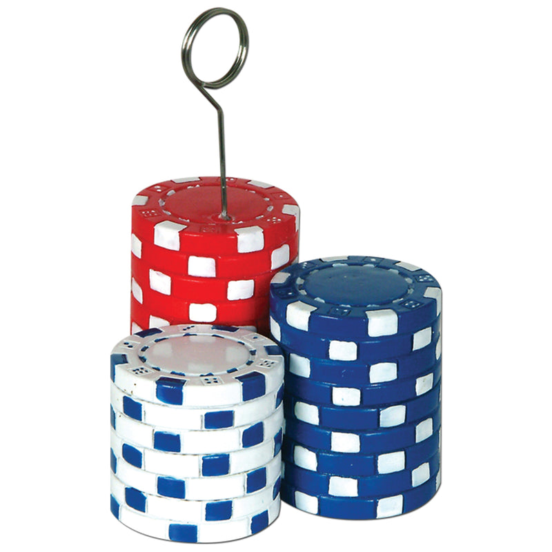Poker Chips Photo/Balloon Holder by Beistle - Casino Theme Decorations
