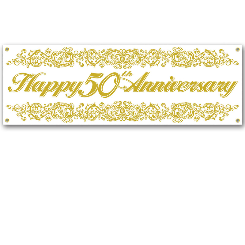 50th Anniversary Sign Banner by Beistle - Anniversary Theme Decorations