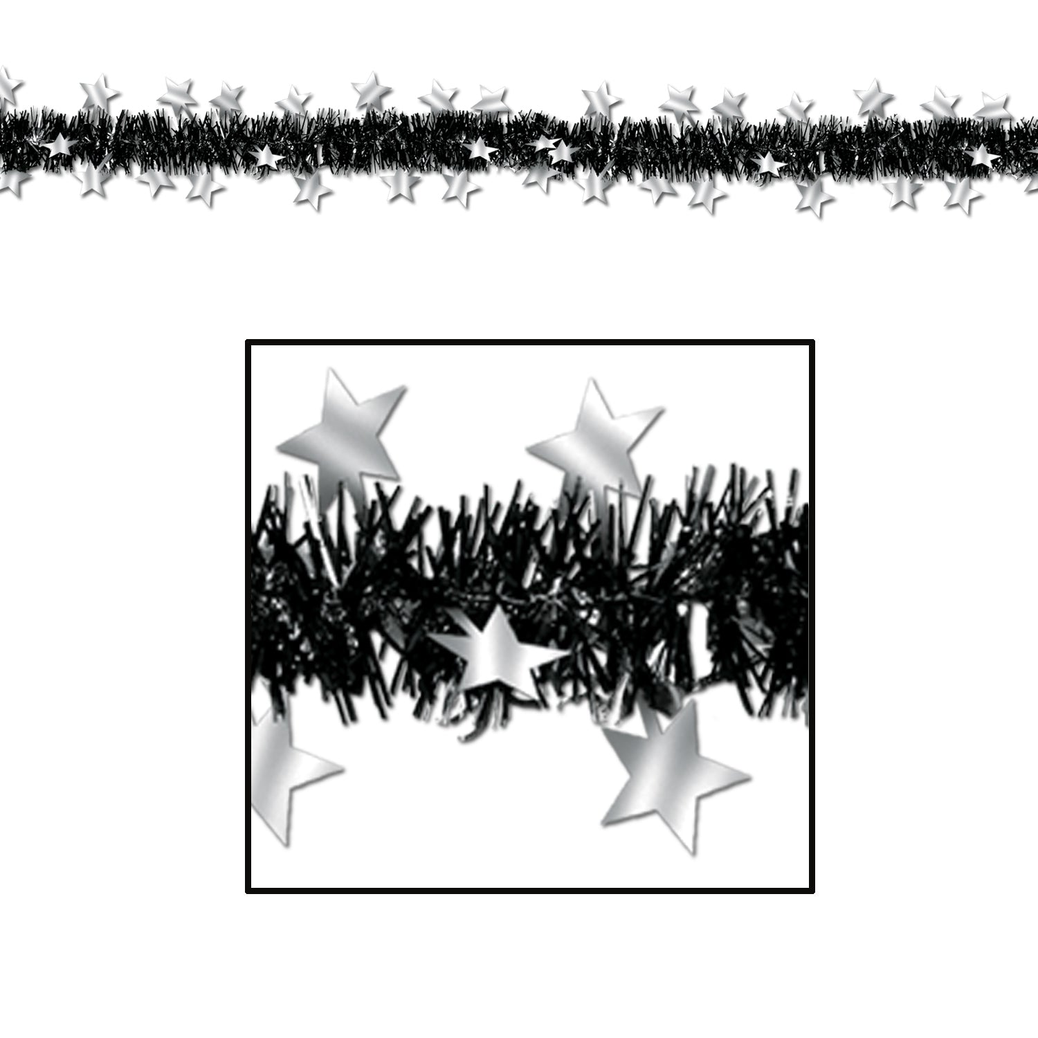 Metallic Star Garland, black & silver by Beistle - New Year's Eve Theme Decorations