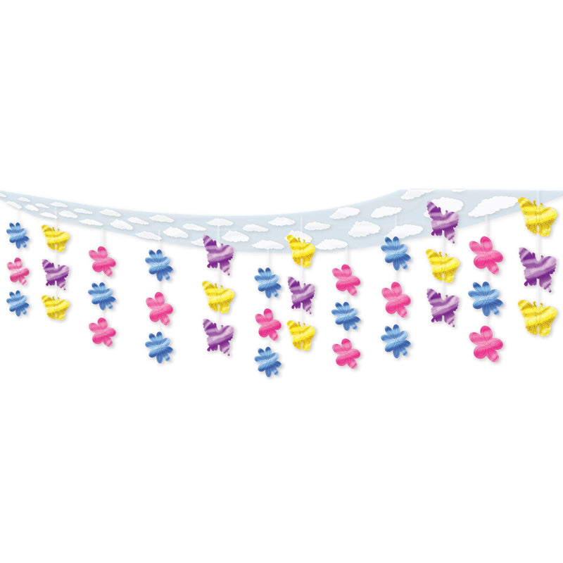 Butterfly & Flower Ceiling Decor by Beistle - Spring/Summer Theme Decorations