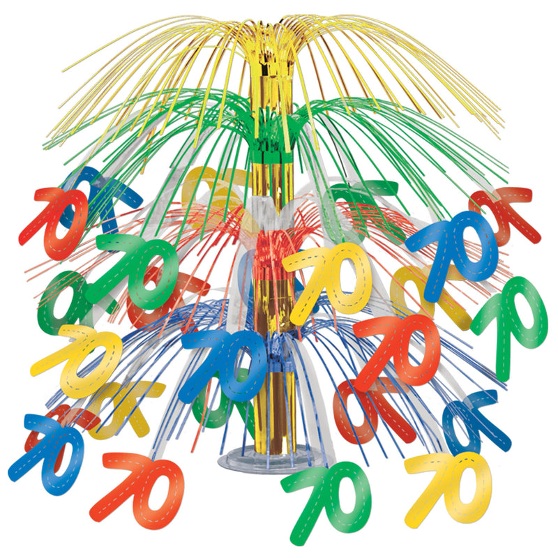 70 Cascade Centerpiece, multi-color by Beistle - 70th Birthday Party Decorations