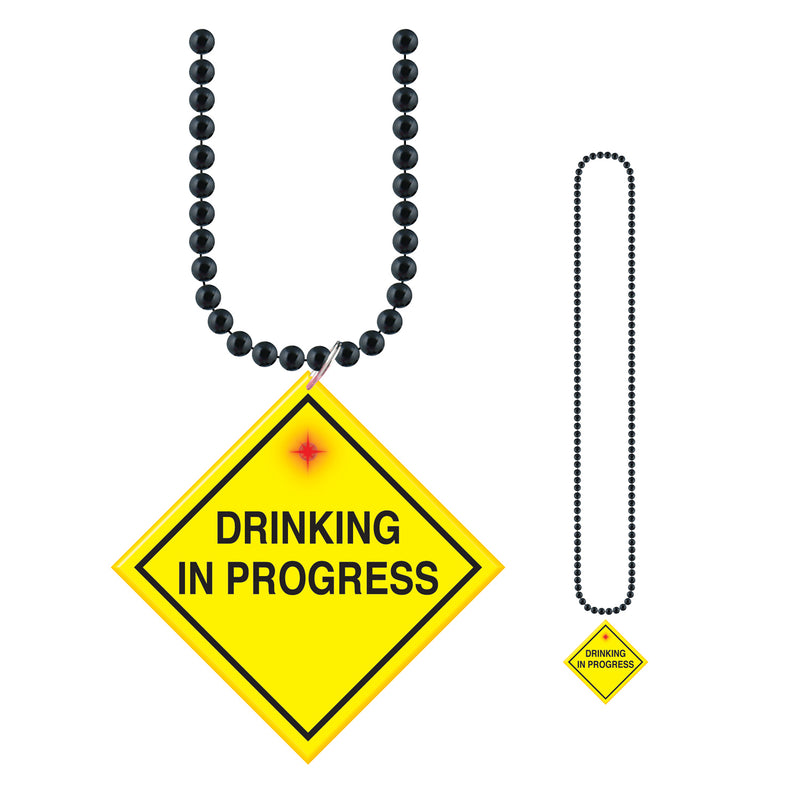 Beads w/ Drinking In Progress Medallion by Beistle - 21st Birthday Theme Decorations