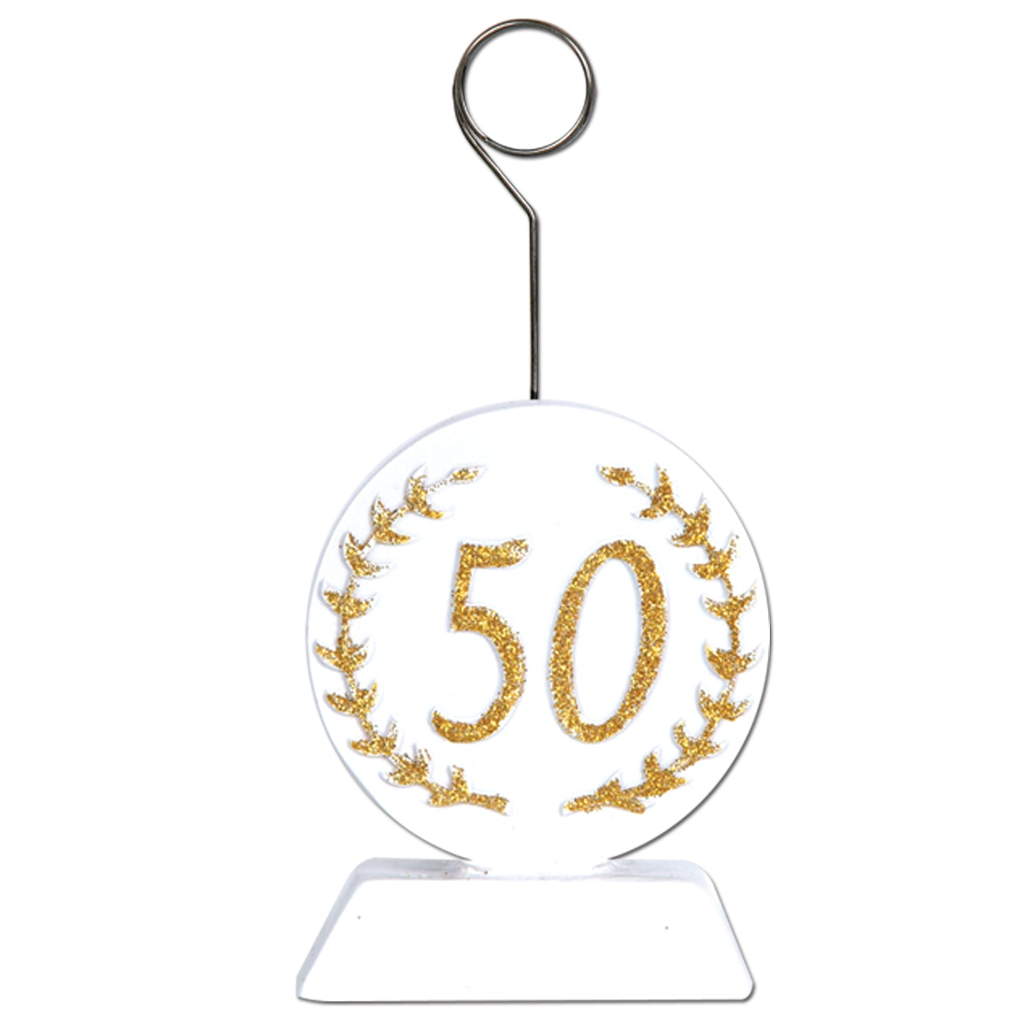 Glittered 50 Photo/Balloon Holder, gold & white by Beistle - Anniversary Theme Decorations