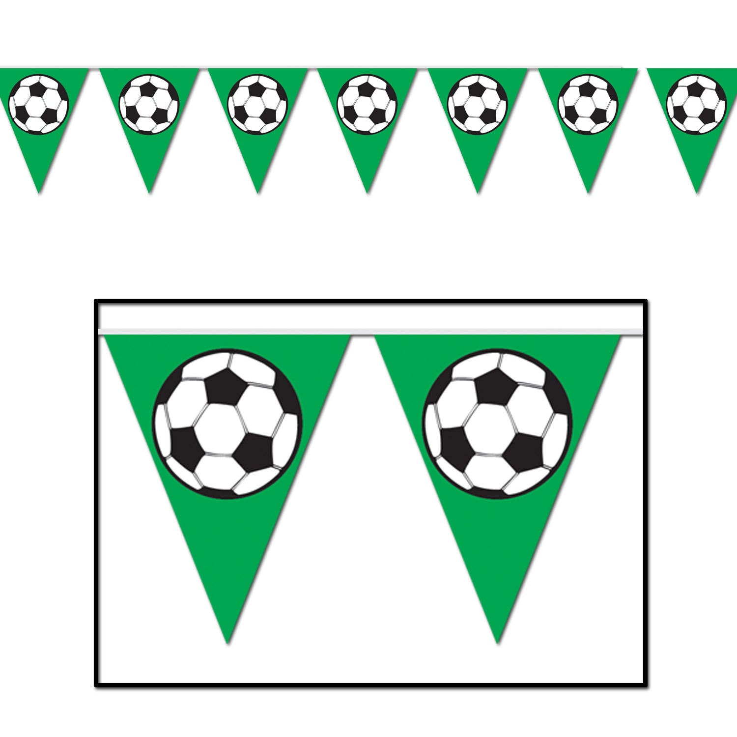 Soccer Ball Pennant Banner by Beistle - Soccer Theme Decorations