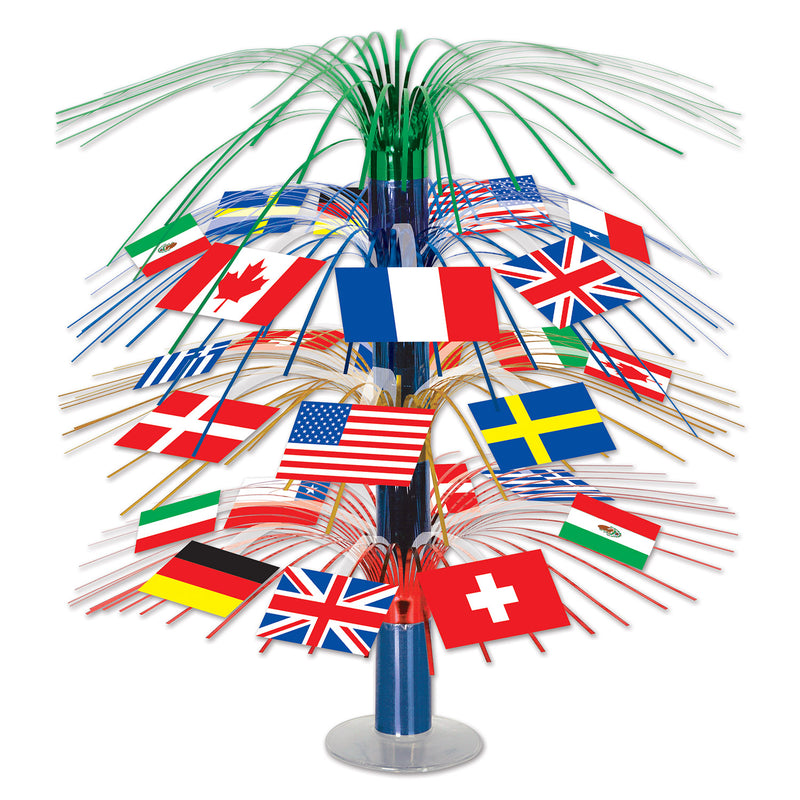 International Flag Cascade Centerpiece by Beistle - International Theme Decorations