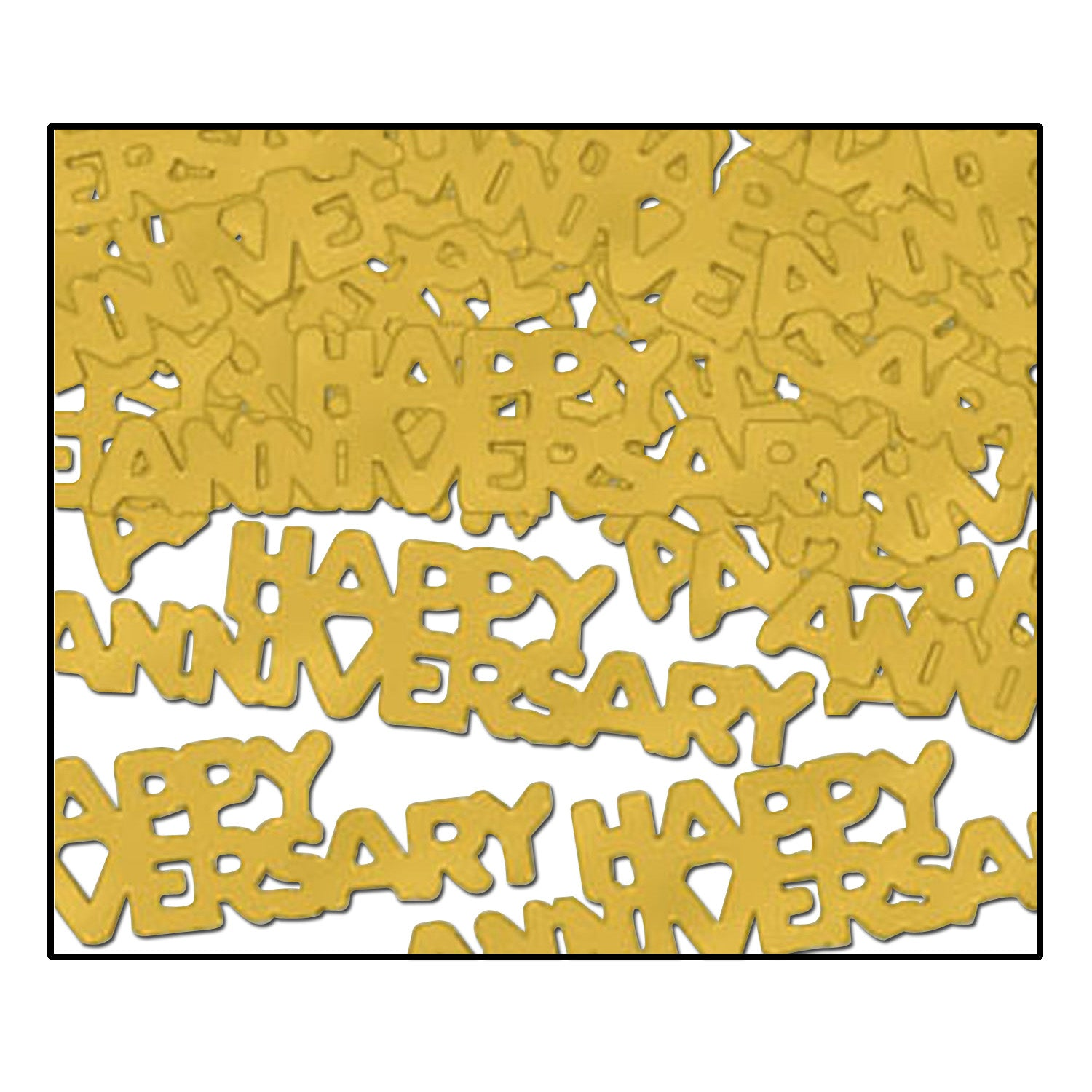 Happy Anniversary Confetti (.5 Oz/Pkg) gold by Beistle - Anniversary Theme Decorations