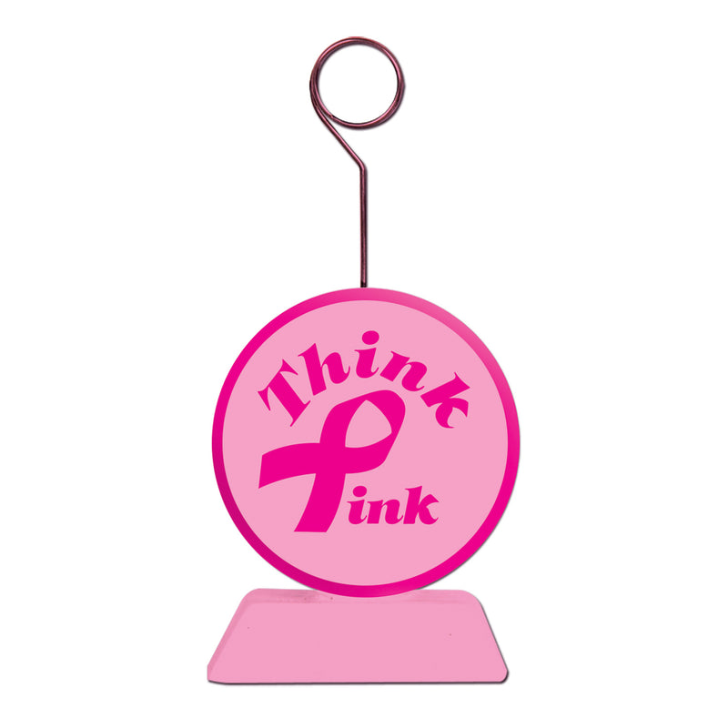 Pink Ribbon Photo/Balloon Holder by Beistle - Pink Ribbon Theme Decorations