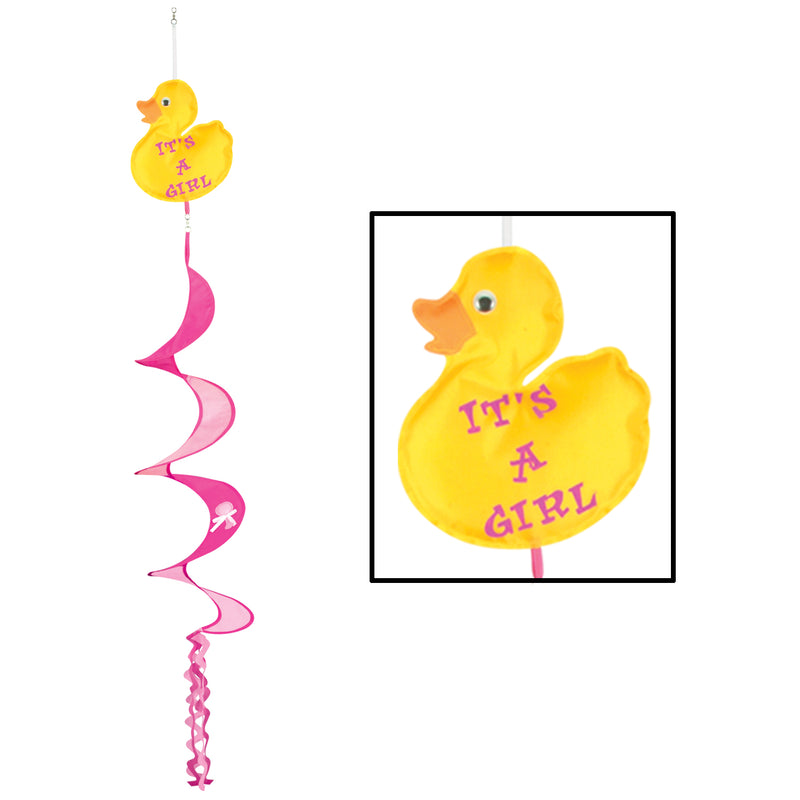 Just Duckie It's A Girl Wind-Spinner by Beistle - Baby Shower Theme Decorations
