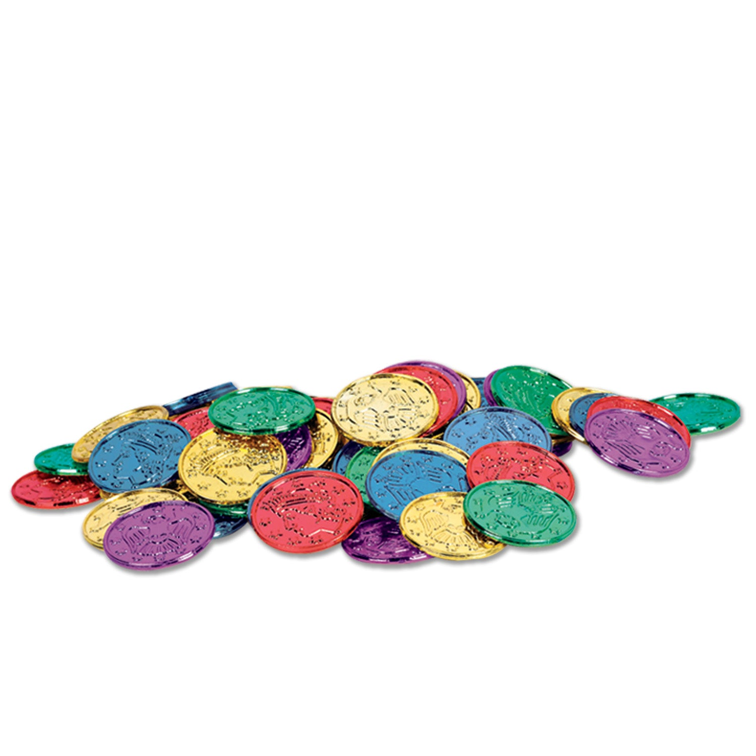 Plastic Coins (100/Pkg), asstd colors by Beistle - Pirate Theme Decorations
