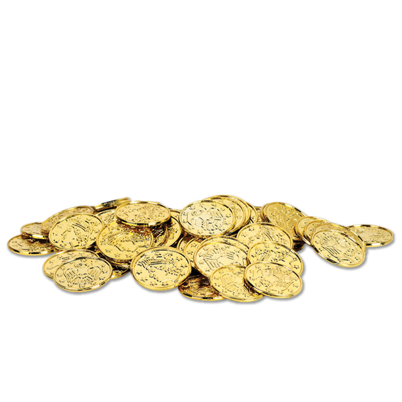 Plastic Coins (100/Pkg), gold by Beistle - Pirate Theme Decorations