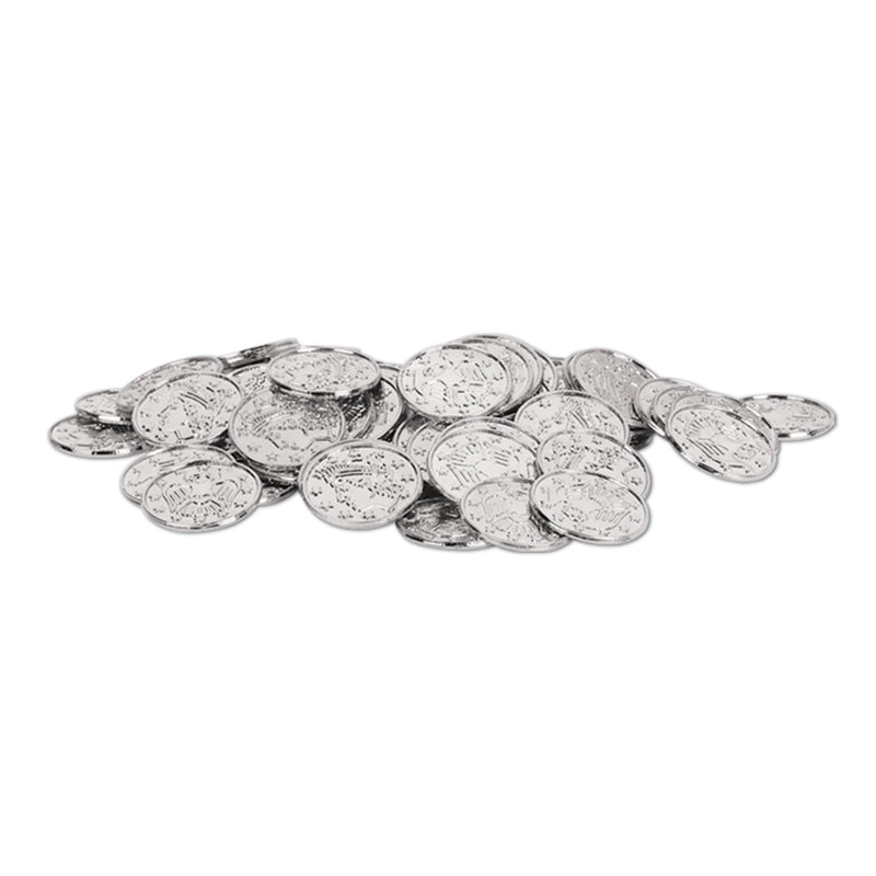 Plastic Coins (100/Pkg), silver by Beistle - Pirate Theme Decorations