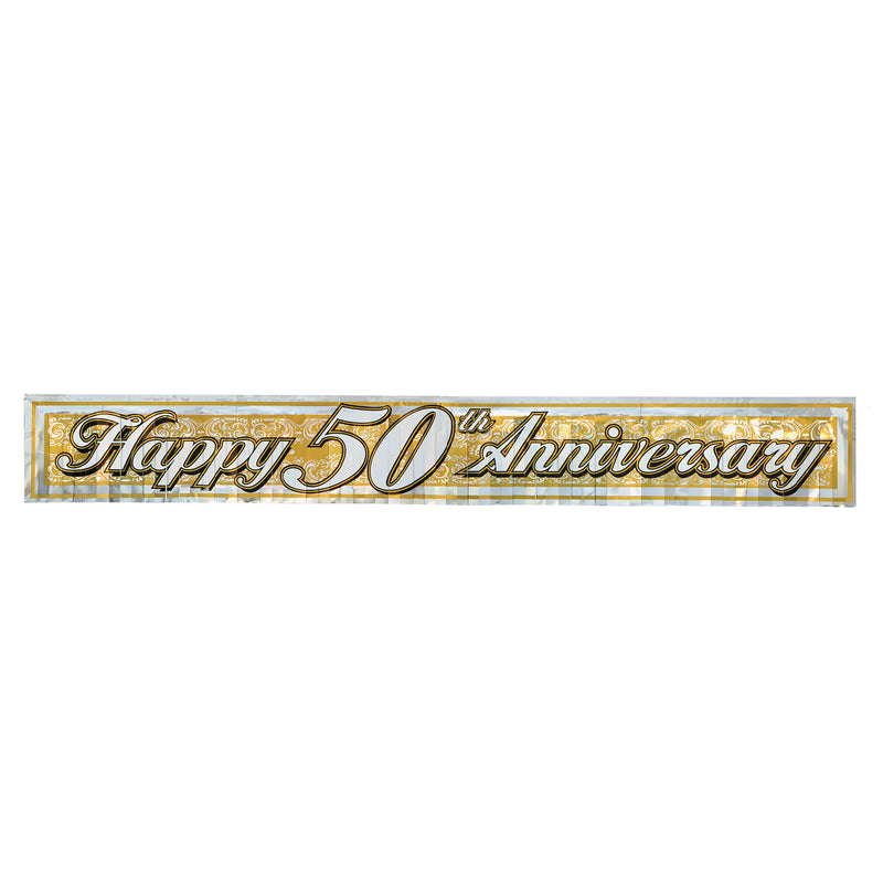 Metallic 50th Anniversary Fringe Banner by Beistle - Anniversary Theme Decorations