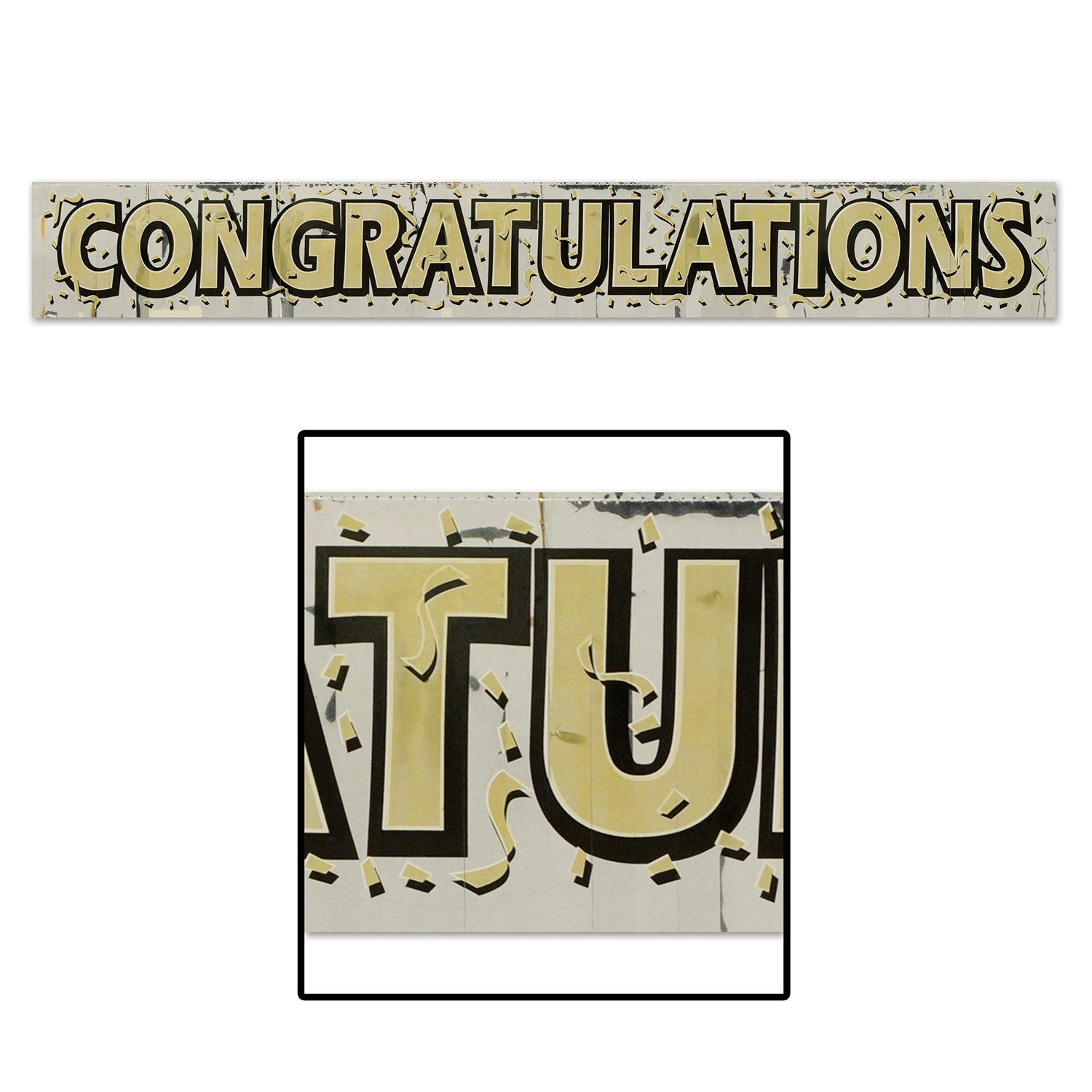 Metallic Congratulations Fringe Banner by Beistle - Anniversary Theme Decorations