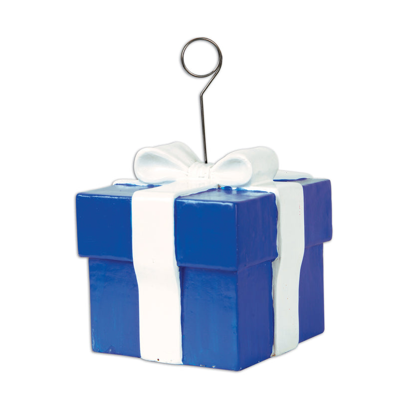 Blue Gift Box Photo/Balloon Holder by Beistle - Birthday Party Supplies Decorations