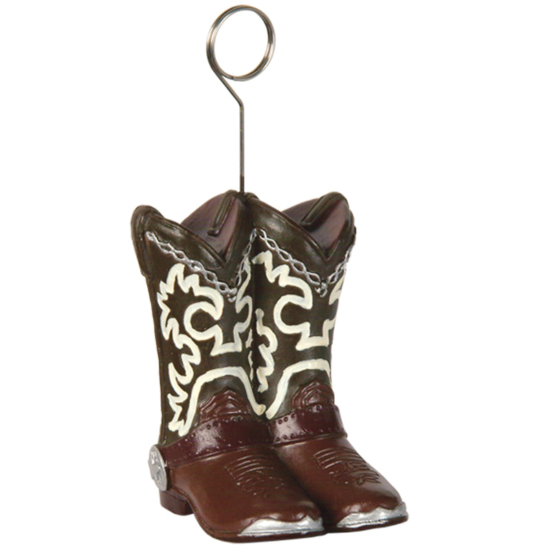 Cowboy Boots Photo/Balloon Holder by Beistle - Western Theme Decorations