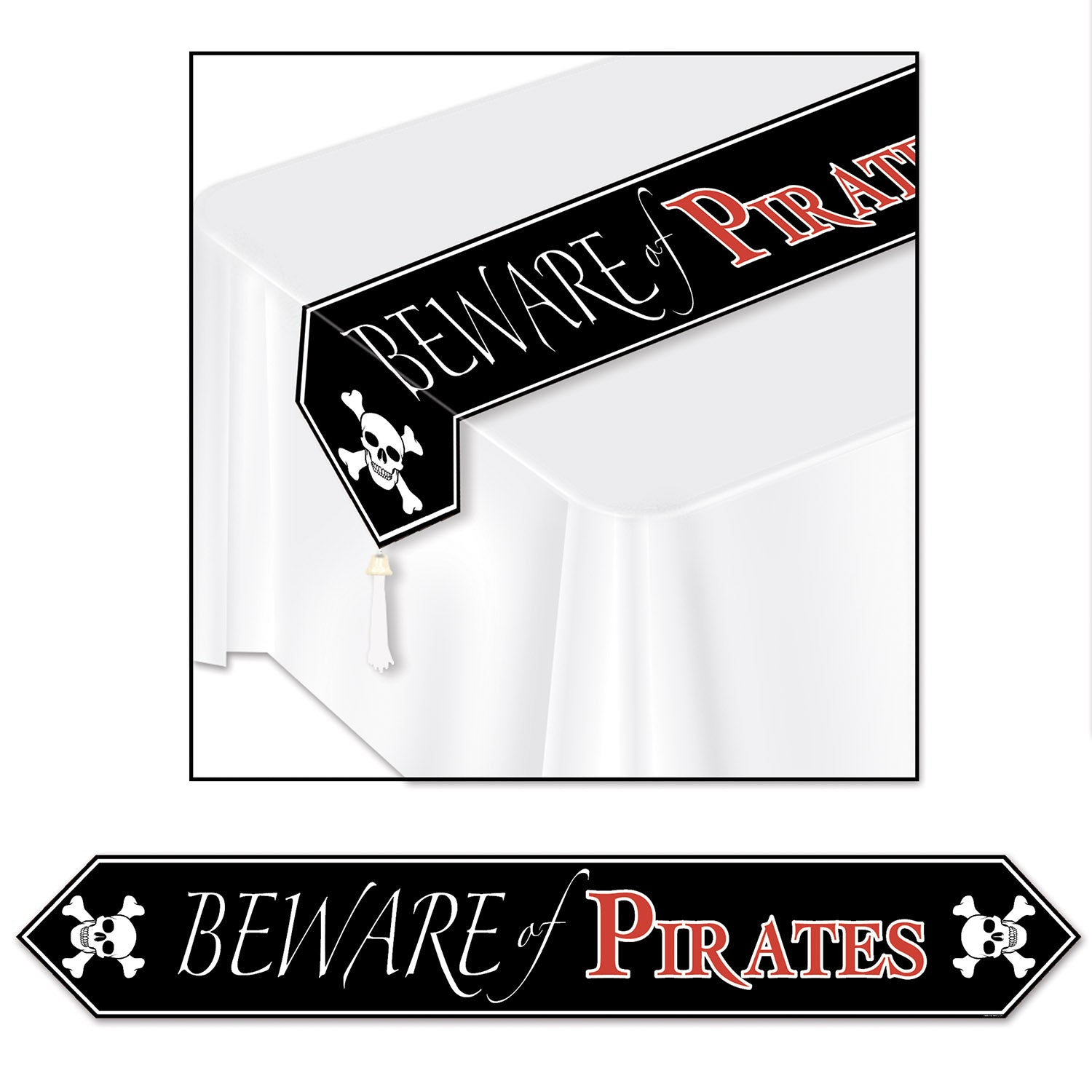 Printed Beware Of Pirates Table Runner by Beistle - Pirate Theme Decorations