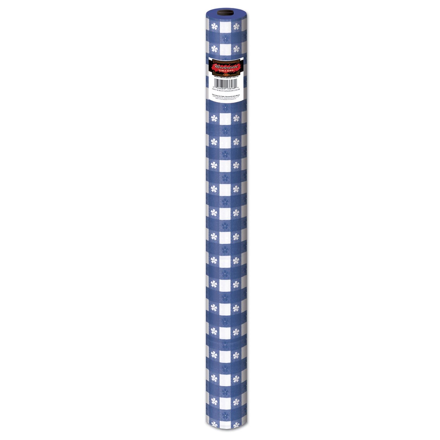 Gingham Table Roll, blue; plastic by Beistle - Spring/Summer Theme Decorations