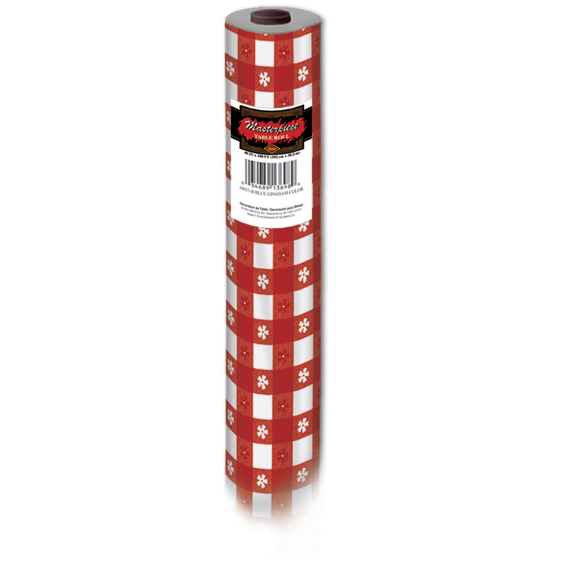 Gingham Table Roll, red; plastic by Beistle - Spring/Summer Theme Decorations