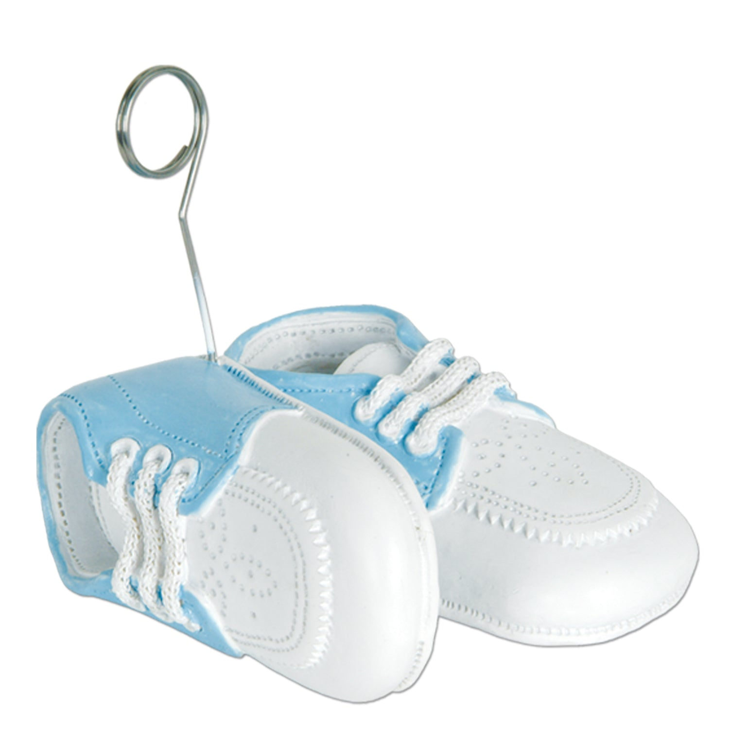 Baby Shoes Photo/Balloon Holder, white w/lt blue upper by Beistle - Baby Shower Theme Decorations