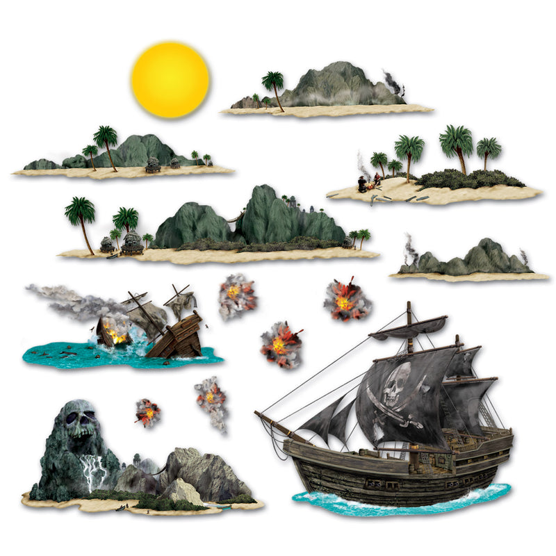 Pirate Ship & Island Props (14/Pkg) by Beistle - Pirate Theme Decorations