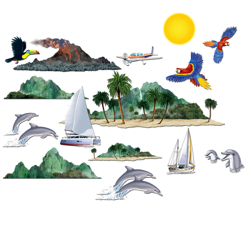 Tropical Cruise Props (15/Pkg) by Beistle - Nautical Theme Decorations