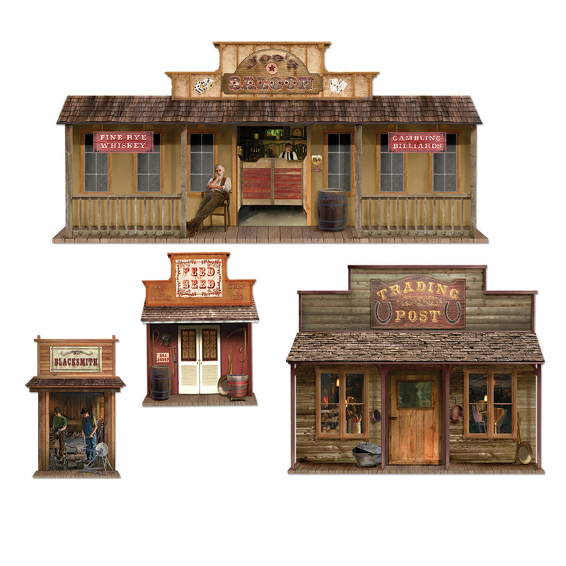 Wild West Town Props (4/Pkg) by Beistle - Western Theme Decorations