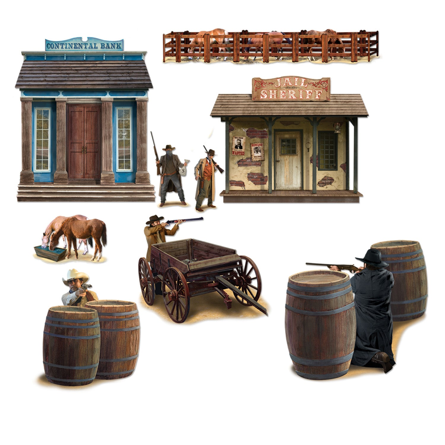Wild West Shootout Props (9/Pkg) by Beistle - Western Theme Decorations
