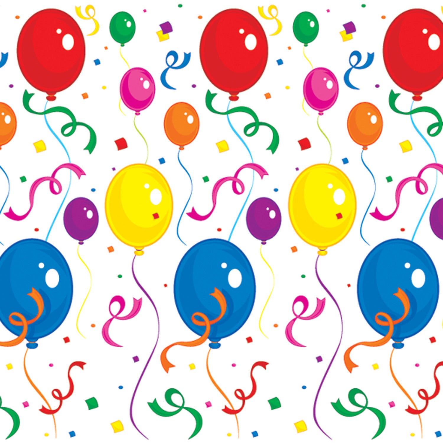 Balloons & Confetti Backdrop by Beistle - Birthday Party Supplies Decorations
