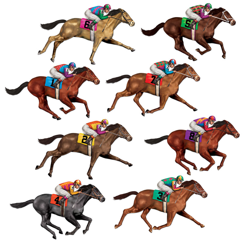 Race Horse Props (8/Pkg) by Beistle - Derby Day Theme Decorations
