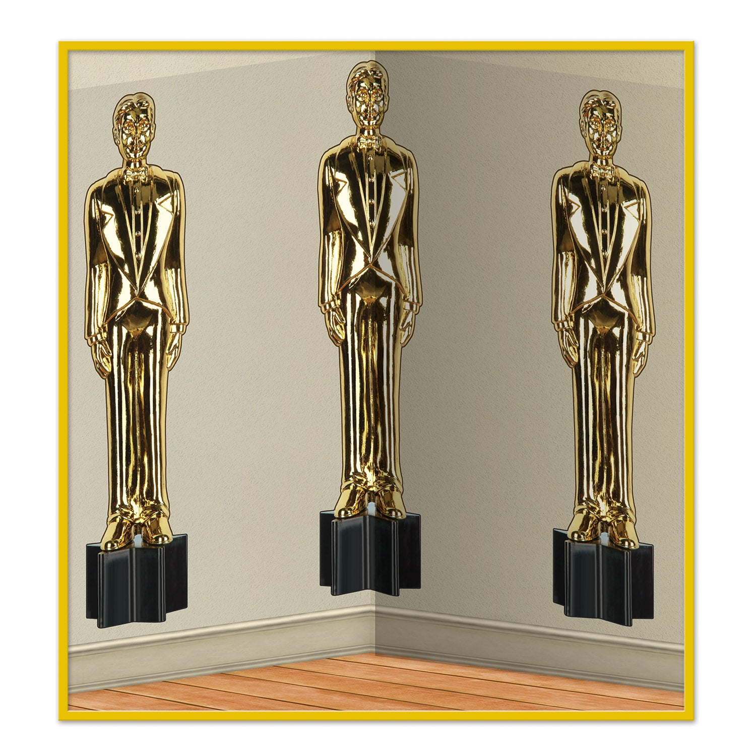 Awards Night Male Statuettes Backdrop by Beistle - Awards Night Theme Decorations