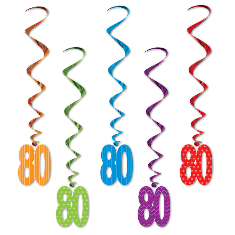 80 Whirls (5/Pkg), asstd colors by Beistle - 80th Birthday Party Decorations