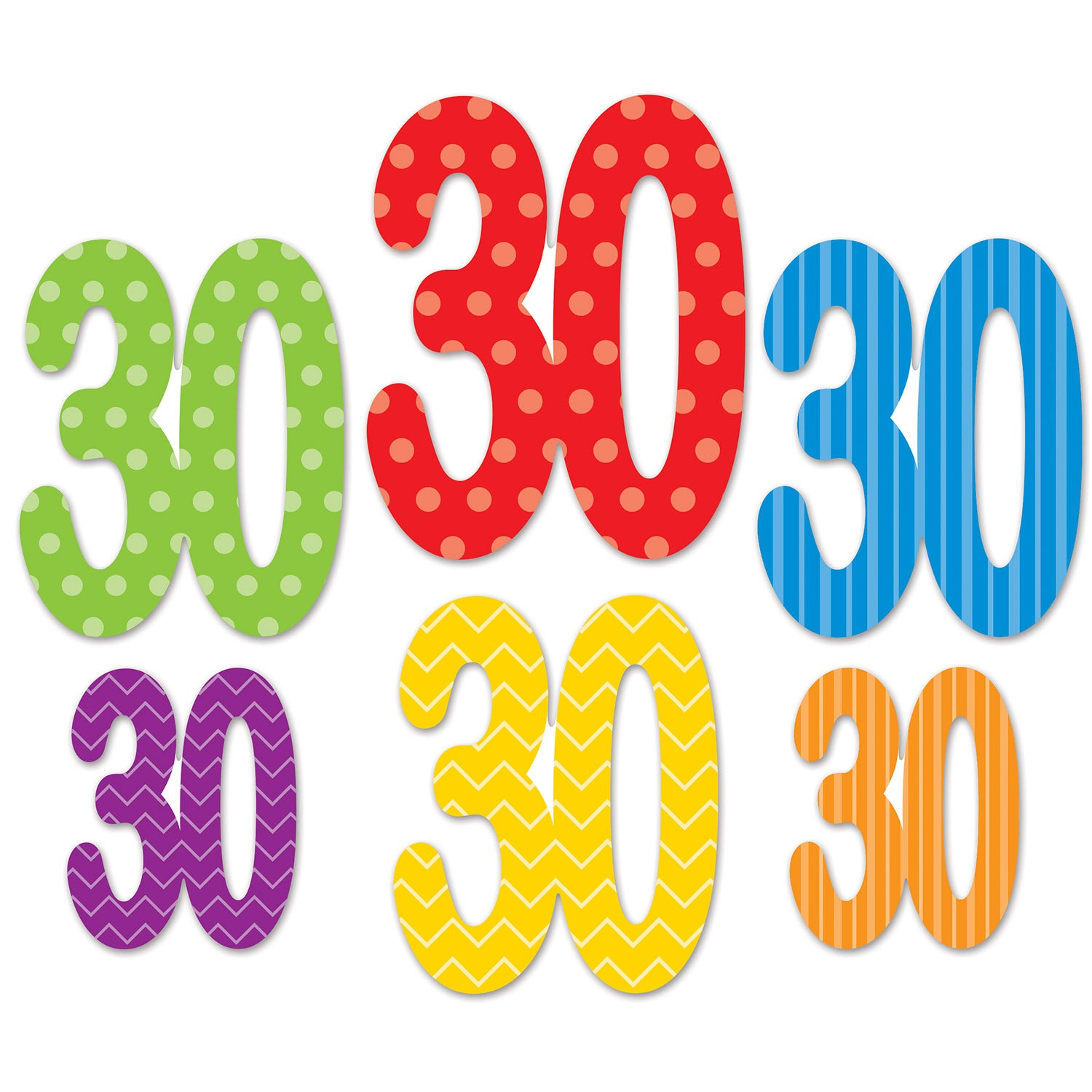 30 Cutouts (6/Pkg) by Beistle - 30th Birthday Party Decorations