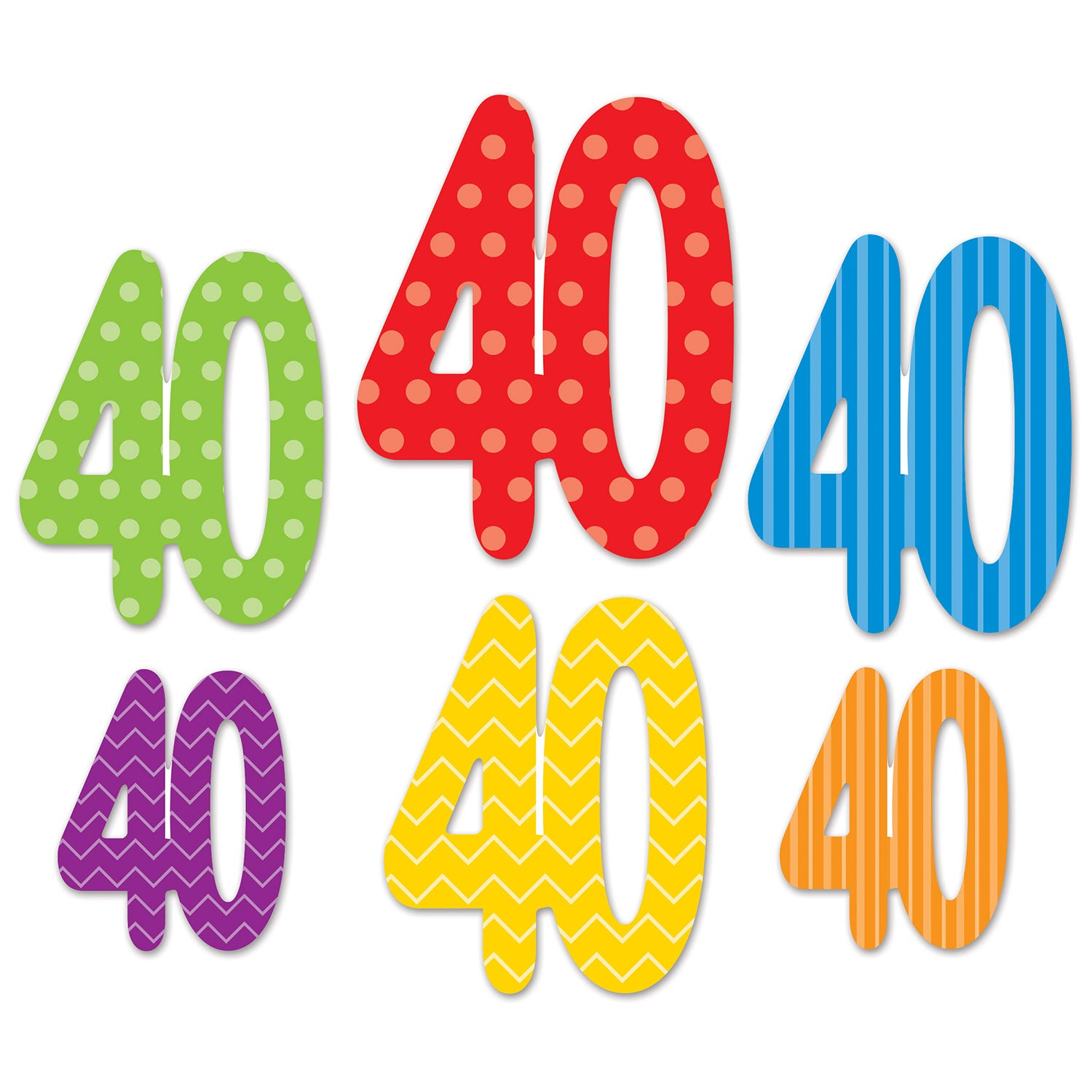 40 Cutouts (6/Pkg) by Beistle - 40th Birthday Party Decorations