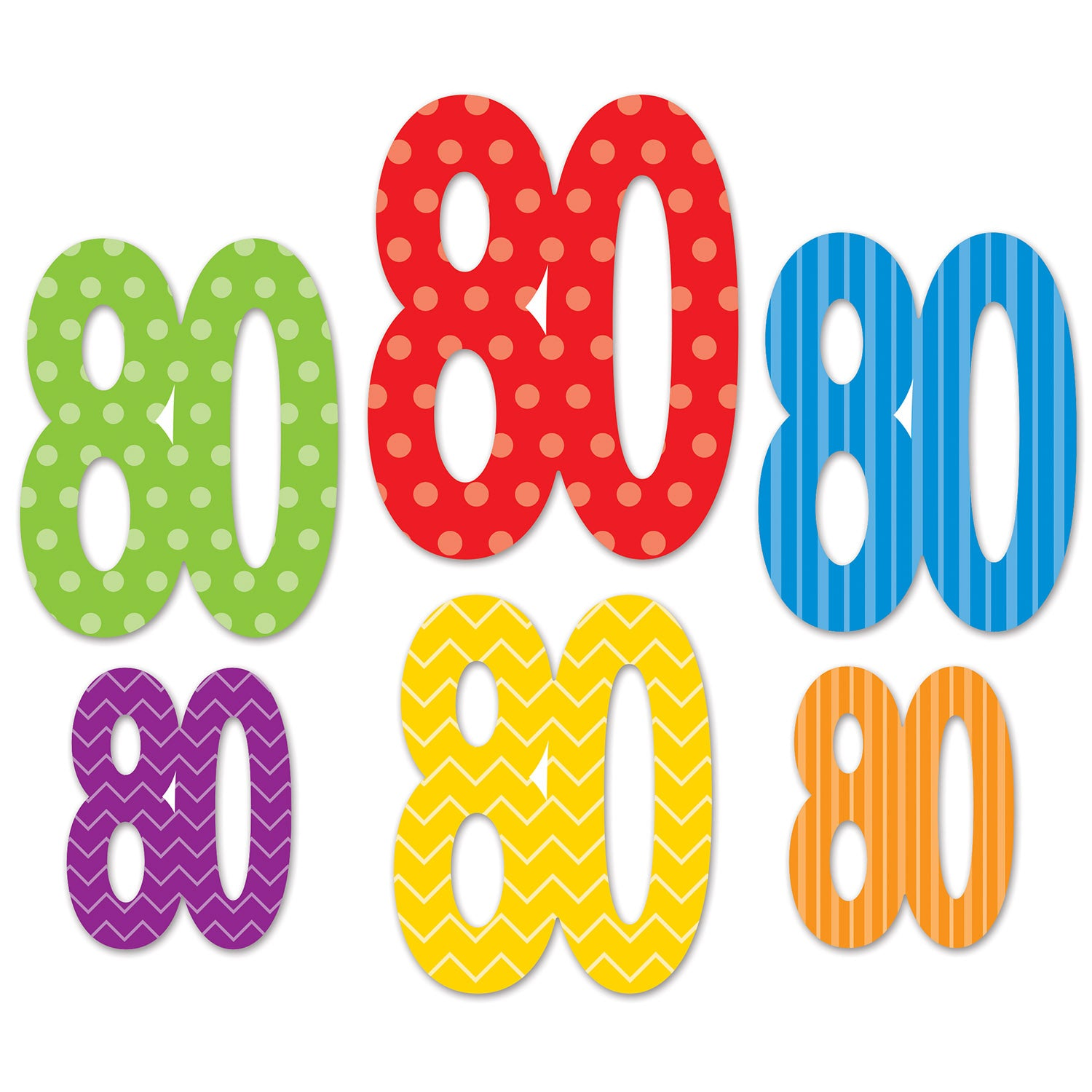 80 Cutouts (6/Pkg) by Beistle - 80th Birthday Party Decorations