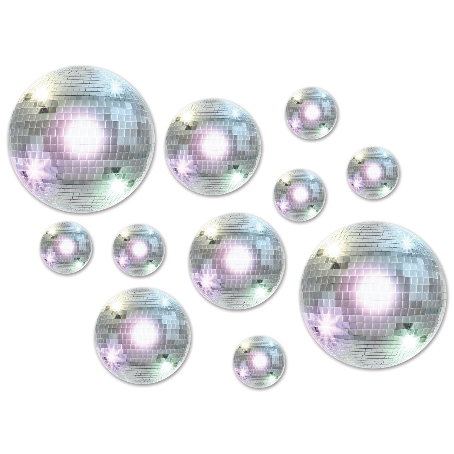 Disco Ball Cutouts (20/Pkg) by Beistle - 70's Theme Decorations