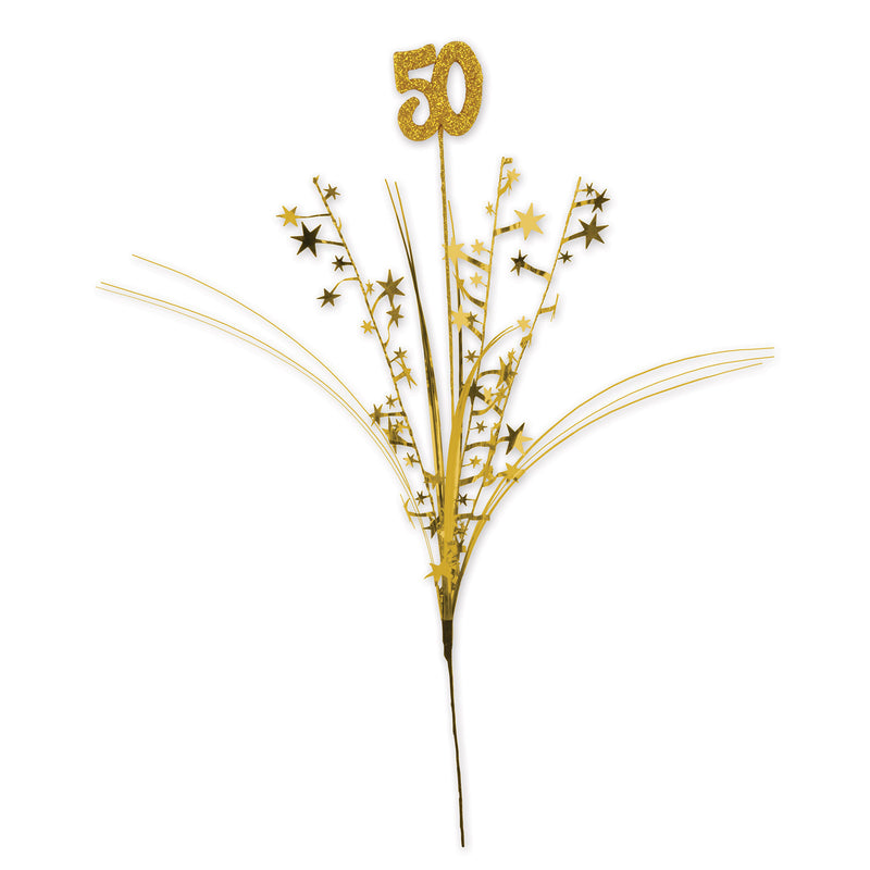 Glittered 50 Metallic Star Spray, gold by Beistle - Anniversary Theme Decorations
