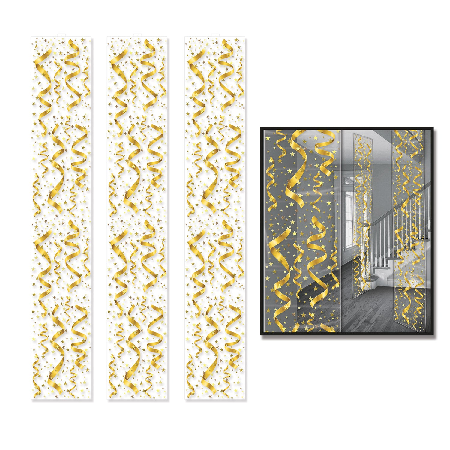 Serps & Confetti Party Panels (3/Pkg) by Beistle - New Year's Eve Theme Decorations