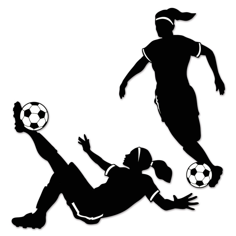 Girl Soccer Silhouettes (2/Pkg) by Beistle - Soccer Theme Decorations