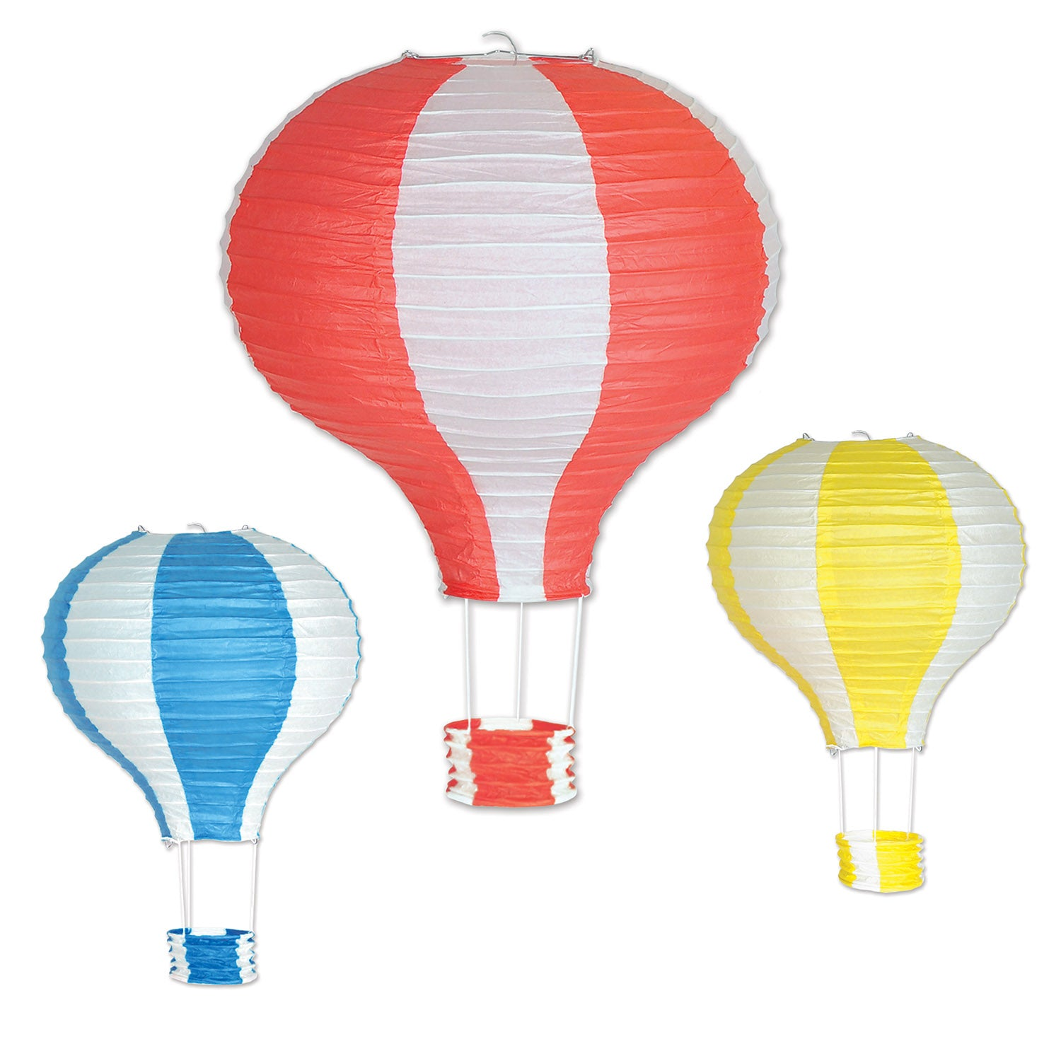 Hot Air Balloon Paper Lanterns (3/Pkg) by Beistle - Spring/Summer Theme Decorations