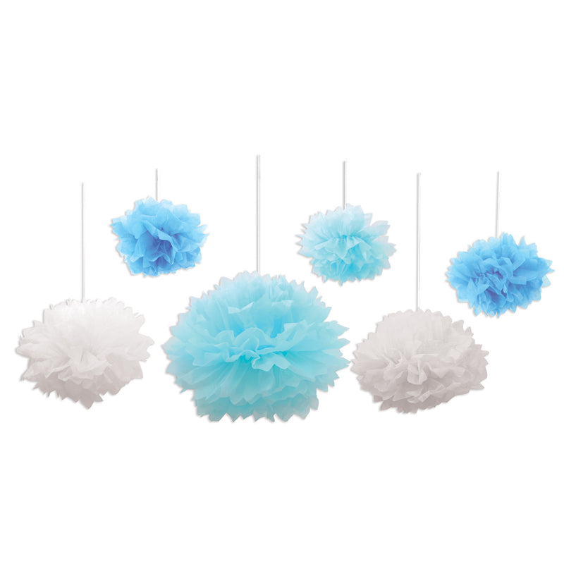 Tissue Fluff Balls (6/Pkg), blue & white by Beistle - Baby Shower Theme Decorations