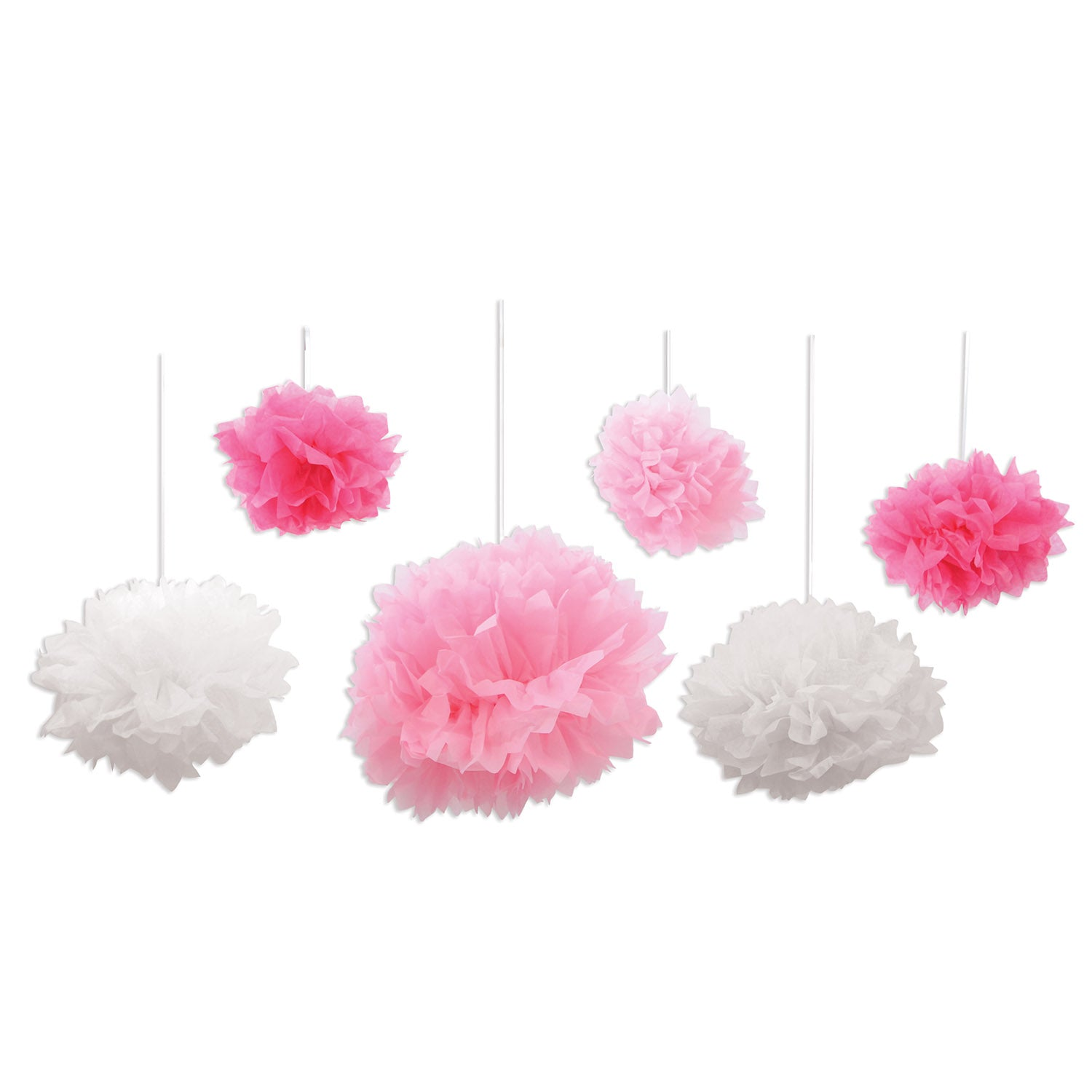 Tissue Fluff Balls (6/Pkg), pink & white by Beistle - Baby Shower Theme Decorations
