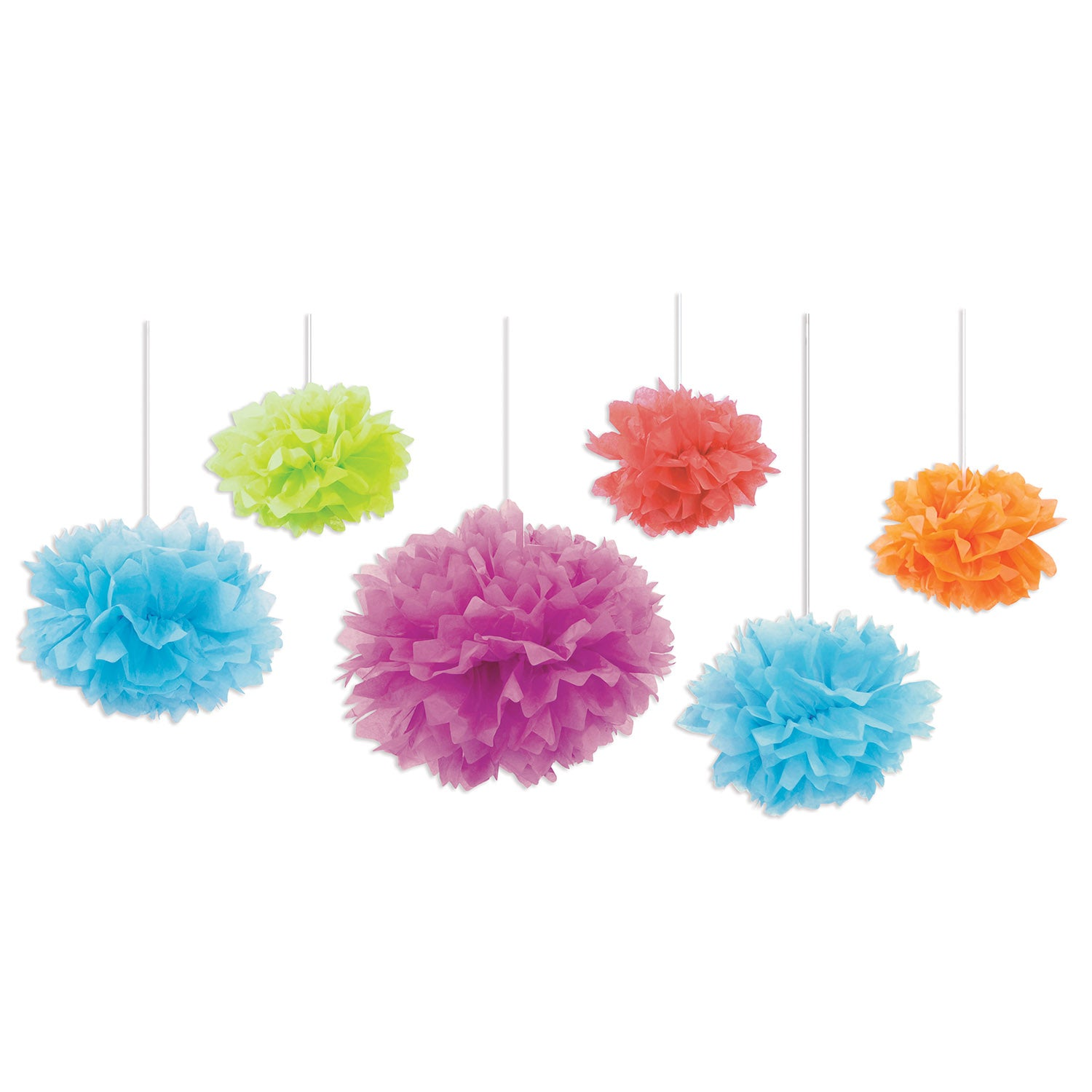 Tissue Fluff Balls (6/Pkg), asstd colors by Beistle - Birthday Party Supplies Decorations