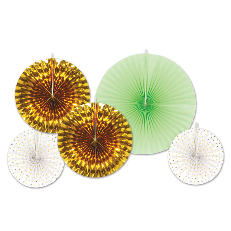 Paper & Foil Decorative Fans (5/Pkg), asstd gold & mint green by Beistle - Wedding Theme Decorations